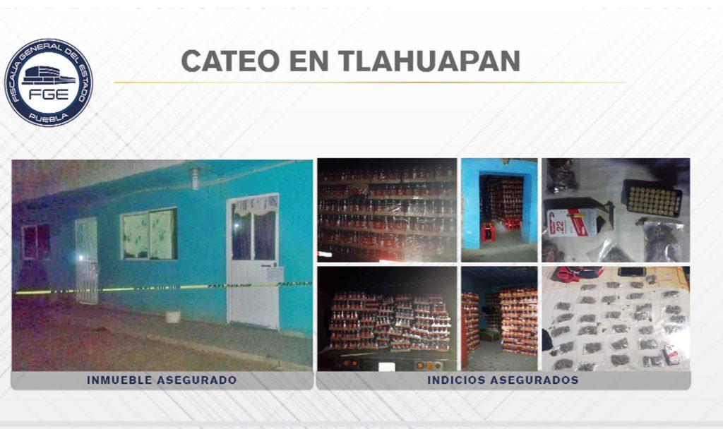 En Tlahuapan, Fiscalía aseguró mercancía robada, cartuchos y droga