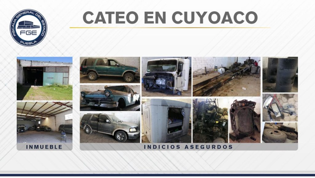 FGE aseguró en Cuyoaco inmueble con unidades y autopartes