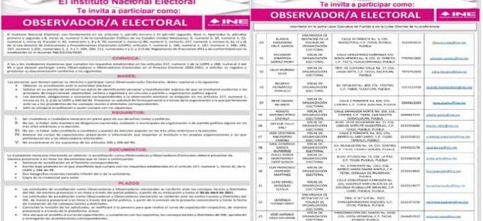 Invita INE Puebla a la ciudadanía a participar como observadores/as electorales en las elecciones 2021