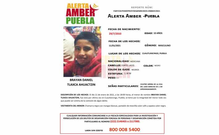 FGE Puebla activa Alerta Amber para localizar a menor de 10 años de edad