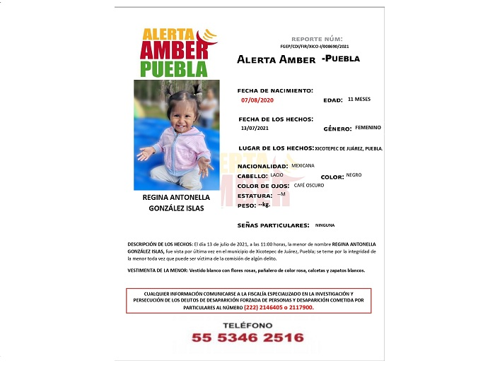 Alerta Amber para localizar a Regina; tiene 11 meses de edad