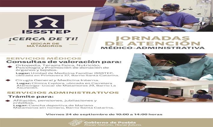Realizará ISSSTEP primera jornada de atención en Izúcar de Matamoros